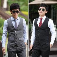 Luxury  elegant fashion color block male slim vest male