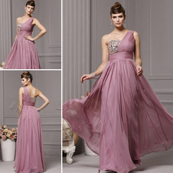 Tanzanite color one shoulder bride evening dress high waist formal dress dinner long 62018 design evening dress(China (Mainland))