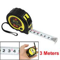 2Pcs 16mm Width Metric 3 Meters Long Retractable Stel Measure Tape Yellow Black free shipping