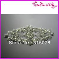 """Crystal Clear BRIDAL Beaded Rhinestone Applique 6.5""""  Motif"""