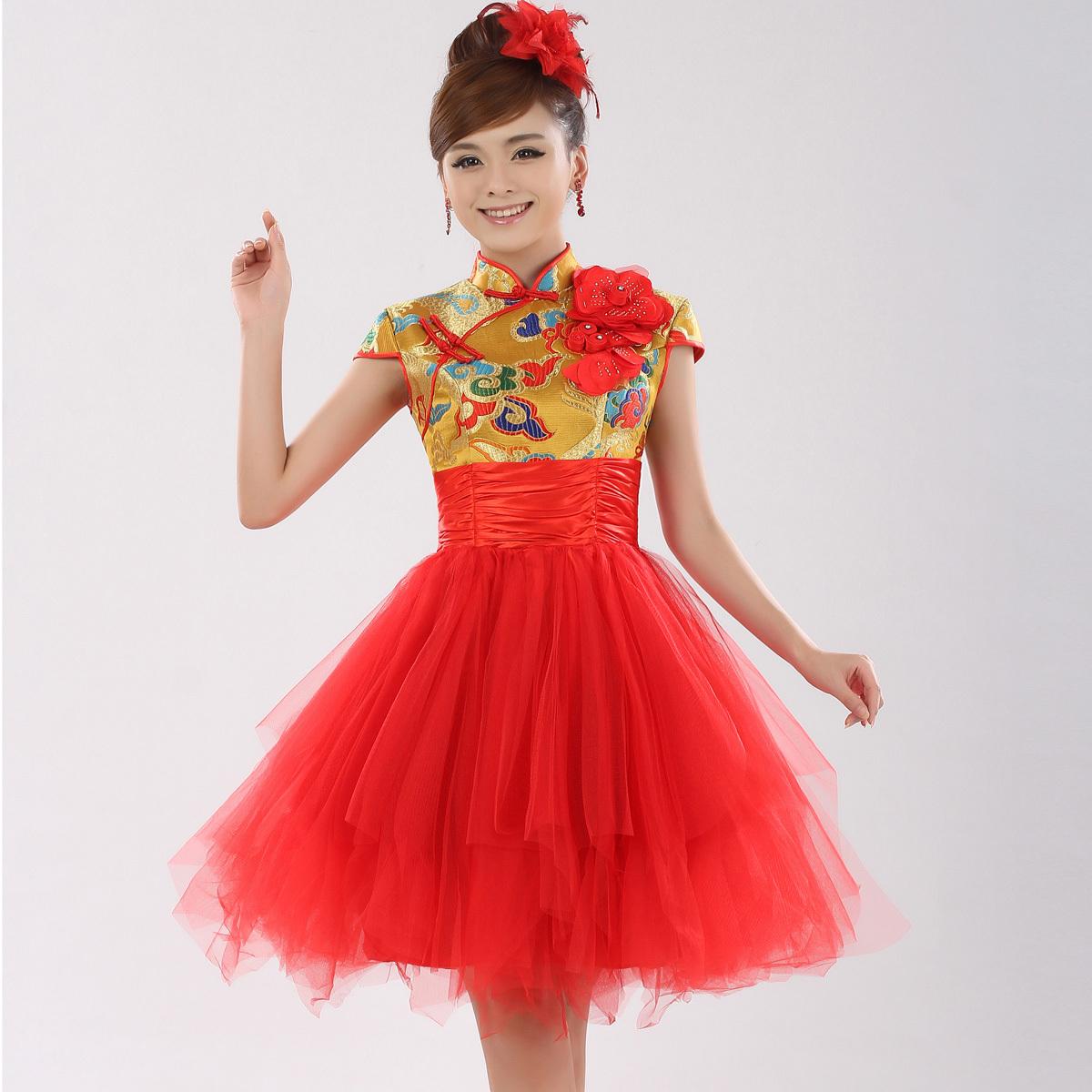 The bride gold robes red bride wedding dress cheongsam improved short