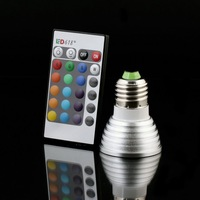 E27 Remote Control RGB LED Bulb Spot Light 16 Color Changing Spotlight Lamp 3W 50pcs/lot + 24 key IR remote DHL Free shipping