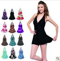 Free shipping 2014 Slim waist female swimwear size push up hot spring plus size one piece swimwear dress