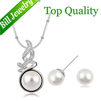 Free Shipping Wholesale Fashion Big Luxury Simulated Pearl Pendant Necklace Stud Earrings Jewelry Sets 3 colors