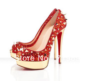 2013 New style pointed toe  colorful rhinestone sequined thick platform casual high thin heels shoes for women