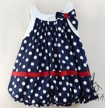 HB66 Free shipping navy blue and white dots cute baby dress/bowknot sleeveless baby girl clothing,retail wholesale/ Honey Baby(China (Mainland))