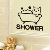 Quality Kitten bathroom waterproof shower room door stickers cartoon decoration tile stickers glass stickers
