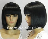 Mimicry Human Hair no lace Front Cosplay short black straight Hair women wig