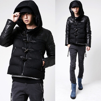 2012 wadded jacket outerwear men's clothing horn button wadded jacket male thermal with a hood PU faux leather cotton-padded
