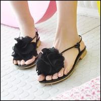 2013 fashion bandage sweet word flip flower large pinch flat sandals