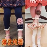 5 pcs/lot New 2014 Spring Autumn Girls Legging Children Kids Clothin Flower Design HOT Selling AA5156
