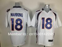 Drop ship ameircan football jerseys #18 payton manning white elite jerseys wholesale mix order
