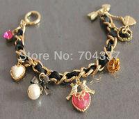 Minimum order request $9.99 (U can mix order)  romantic heart bird charm bracelet J04