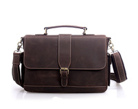 100%Genuine leather briefcase, leather laptop bags for men, men's big size shoulder bags, business briefcase