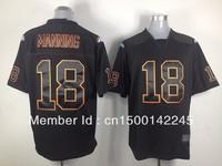 Drop ship ameircan football jersey #18 payton manning black elite jersey wholesale mix order