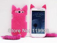 3D Cute Fluffy Tail Cat TPU Case Cover Skin for Samsung Galaxy S3 i9300 Rose