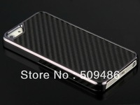 300pcs free shipping Quality Carbon Fibre Silver Chrome Design Luxury Hard Case Cover for iphon 5 5G 5S, iphone 5 Chrome case