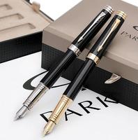 Parker fountain pen black gold lea clip ink pen handmade 18k gold