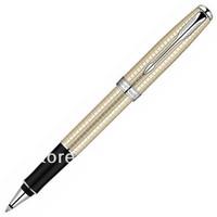 Drow pure silver pearl plaid white clip roller pen