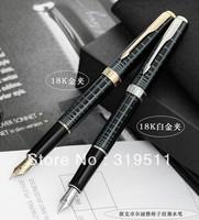Parker fountain pen black plaid gold lea clip white clip ink pen 18k fountain pens