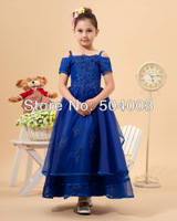 Custom-made Solid Spaghetti Strap Organza Flower Girl Dresses free shipping