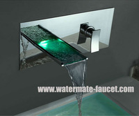 free shipping single handle wall-mounted bathroom LED basin faucet