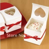 Free Shipping 6x6x6cm White color, Cupcake Boxes Heart Window Cake packaging box gift container 100pcs/lot