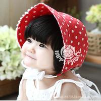 1pcs New arrival 100% cotton  baby summer hats dot lace infant sunbonnet  kids topee beach sun hats