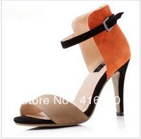 Free shipping 2013 fashion Summer new arrival genuine leather color block decoration elegant platform thin ultra high heels