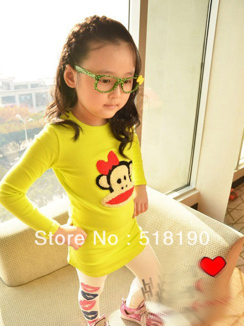 children's clothing Girl T Shirt with yellow Long sleeve monkey T Shirt Girl spring wear(2color)free shipping(China (Mainland))