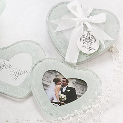 Free Shipping Frosted Damask Print Heart Photo Coasters Wedding Favors Supplies(China (Mainland))