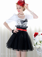 Free Shipping 2013 summer organza ruffle high waist puff skirt short skirt bust skirt