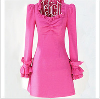 Autumn rose ruffle slim tight a woolen skirt one-piece dress
