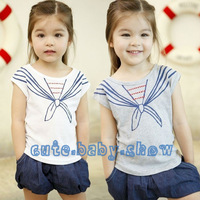 Wholesale 5pcs/lot New summer cravat style tee navy style child clothing baby girls short-sleeve T-shirt