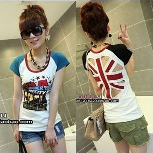 Hot selling E queen spring and summer cute girl back of the m word short-sleeve T-shirt 115 free shipping(China (Mainland))