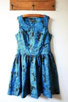 Fabric skull doodle side zipper big skirt slim waist tank dress one-piece dress