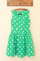 Fabric dot side zipper big skirt slim waist tank dress one-piece dress