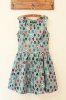 Fabric small gloves side zipper big skirt slim waist tank dress one-piece dress