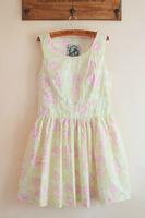 Fashion HARAJUKU flower fresh big skirt slim waist tank dress one-piece dress