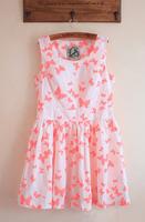 Fashion butterfly HARAJUKU neon big skirt slim waist tank dress one-piece dress