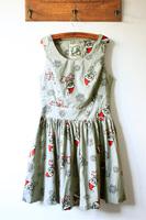 Fabric christmas side zipper big skull skirt slim waist tank dress one-piece dress