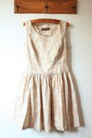 Fabric bear doodle side zipper big skirt slim waist tank dress one-piece dress
