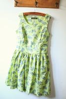 Fabric doodle side zipper big skirt slim waist tank dress one-piece dress