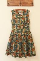 Fabric olive side zipper big skirt slim waist tank dress one-piece dress