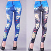 Fashion seamless 2013 denim print head portrait legging ankle length trousers women jeggings Free shipping