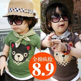 Short-sleeve plaid vest t-shirt 2013 summer children's clothing child baby child male female child 4263 freeshipping