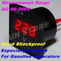 Free Shipping Mini Digital Voltmeter Panel AC 80-300V LED Digital Alternating Voltage Meter for gasoline generators Shock proof