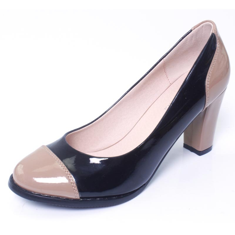 Round toe color block decoration thick heel shallow mouth shoes female fashion 2013 plus size small(China (Mainland))