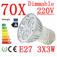 70pcs power CREE E27 3x3W 9W 220V Dimmable Light lamp Bulb LED Downlight Led Bulb Warm/Pure/Cool White free shipping