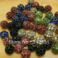 High Quality Wholesale 40PCS of 10mm Mixed Shamballa Beads Pave Disco Crystal Rhinestones Ball Bead Findings free shipping
